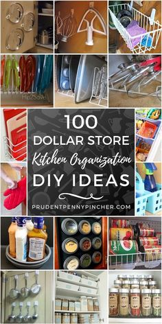 100 Kitchen Dollar Store Organization Ideas- Organize your kitchen for cheap with these dollar store kitchen organization ideas. From DIY spice racks to pan storage hacks, there are organizing ideas for every inch of your kitchen on a budget. Craft Room Storage, Diy Kitchen Storage, Kitchen Decor, Kitchen Design, Rustic Kitchen, Bathroom Storage, Dollar Store Hacks, Dollar Stores, Dollar Tree Organization