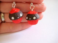 Chocolate cupcake earrings food earrings egst by TheFaidrinBear