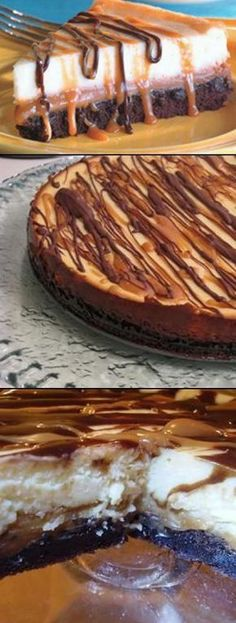 Brownie Caramel Cheesecake Recipe TO DIE FOR!!!  OMG!  This is amazing!!!!  #Cheesecake #Recipe #desserts www.isavea2z.com/...