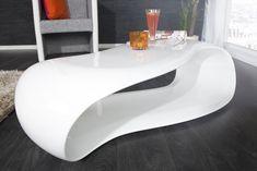 Couchtisch STREAM weiss Hochglanz 115 cm Coffee Table 2019, Cool Coffee Tables, Coffee Table Design, Design Table, Table Decor Living Room, Design Tisch, Style Deco, Wave Design, Fibre