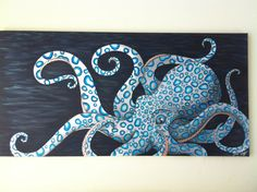 origional acrylic paintying of a blue ringed octopus measurements are 24 by 48