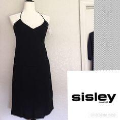 Sisley Italy Black Knee Length Halter Dress Sz Med Sisley Made in Italy Knee Length Halter Dress.  Halter ties ruche the V neckline. Back has a little panel of elastic to offer support. Gorgeous detail on hemline. Item is NWT Sisley Dresses Strapless