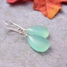 Sea foam green earrings - Chalcedony earrings - Tear drop earrings $55.00