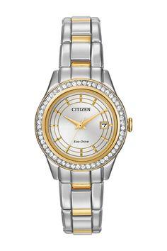 Citizen Women's Eco-Drive Silhouette Crystal Two-Tone Bracelet Watch