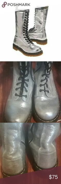 Doc Marten silver high top boots bouncing sole Ready to go size 8 I list at 7.5 for comfort reasons. These are the exact boots in first stock photo in excellent condition. Dr. Martens Shoes Lace Up Boots