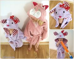 Kinder Bademantel Maus Katze Kapuze, cat and mouse children's bathrobe