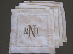 Set of 4 Monogrammed White Linen Cocktail Napkins - $18