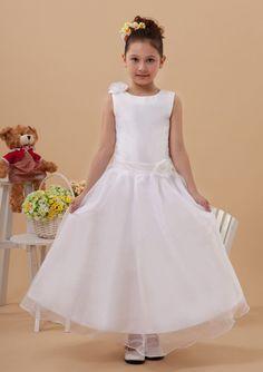 2015 Flowers Sleeveless Tulle Straps Zipper White Ruched Tea Length Flower Girl Dresses FGD
