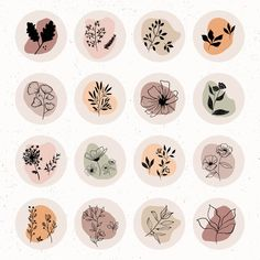 Botanicals Wildflowers Instagram Highlight Covers | Etsy Story Instagram, Instagram Design, Printable Stickers, Cute Stickers, Mac Stickers, Cartoon Stickers, Kawaii Stickers, Warm Colors, Colours