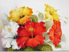 1016 - Hibiscos - Pintura,  60x120 cm ©2009 por Silvana Oliveira -