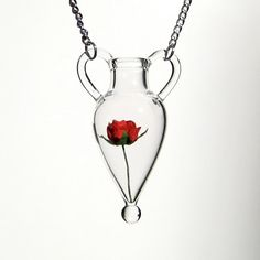 Glass Amphora Pendant with Paper Rose Hand Blown Glass by kivaford, $76.00