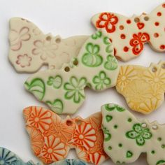5 Handmade Porcelain Butterfly Buttons by melissaceramics on Etsy, £10.00  #handmade #buttons #butterfly