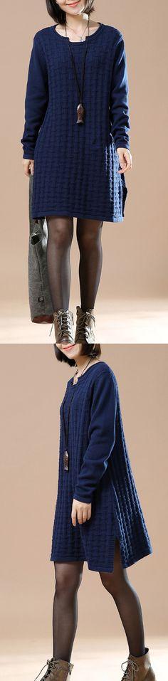 Blue new pattern knit sweaters for women plus size sweater dress