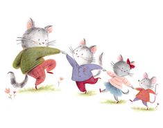 Jennifer A. Bell is an illustrator of greeting cards, magazines, and over a dozen children's books. She lives in Minneapolis MN. Cat Mouse, Cat Art, Childrens Books, Pikachu, Illustration Art, Greeting Cards, Cats, Painting, Fictional Characters
