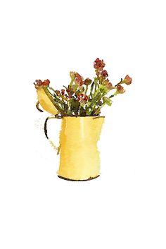 yellow enamelware coffee pot free watercolor printable.jpg - Box