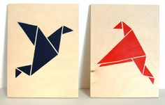 Origami Birds on Ply    This listing is for a set of TWO spray painted Origami Bird panels. Each Panel :150 x 200 x 9 mm original, hand sprayed