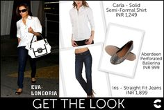 Gorgeous Eva Longoria, of Desperate Housewives fame, struts in style!  Shop:  Carla - Solid Semi-Formal Shirt (INR 1,249): http://www.freecultr.com/carla-solid-cotton-spandex-shirt-1.html?top_color=White  Iris - Straight Fit Jeans (INR 1,899): http://www.freecultr.com/sale/iris-weathered-dark-wash-mid-rise-cotton-stretch-jeans-10.html  Aberdeen - Perforated Ballerina (INR 999)…