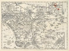 1929 Amusement Map of Los Angeles County