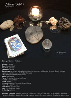 My correspondences chart for the element Akasha/Spirit with altar. - By Skyla NightOwl - The Magical Circle School - www.themagicalcircle.net