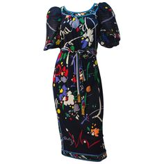 80s Leonard Abstract Print Puff Sleeve Dress | From a collection of rare vintage day dresses at https://www.1stdibs.com/fashion/clothing/day-dresses/