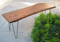 Mid Century Modern Bench With Hairpin Legs. $249.00, via Etsy. Live Edge Furniture, Outdoor Furniture, Outdoor Decor, Modern Bench, Mid-century Modern, Mid Century Coffee Table, Hairpin Legs, End Tables, Hair Pins