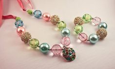 Chunky Gumball Necklace and Bracelet Set - Pink, Turquoise and Green