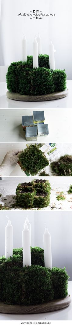 Christmas Decorating Botanical DIY decoration for Christmas: Advent wreath made of moss itself Christmas Advent Wreath, Holiday Wreaths, Christmas Diy, Christmas Decorations, Wreath Boxes, Paper Flower Wreaths, Christmas Makes, Centerpiece Decorations, How To Make Wreaths