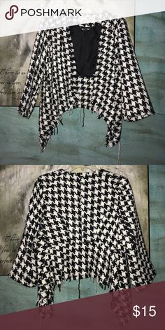 "Houndstooth jacket🖤 This houndstooth jacket can be dressed up or down! I wore this with a black skirt and red belt! ❤️ it's in perf condition! Feel free to ask any questions! The brand is ""Jolt"" I think I purchased this from Dillard's! Jackets & Coats"