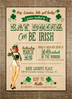 St. Patrick's Day Invitation  Eat Drink and Be by BrownDogPress, $18.00