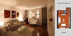 Arredamento classico modernoper il soggiornoa Torino. Una boiserie contenitivaal posto dei mobili e arredi eleganti per uno stile di livello.
