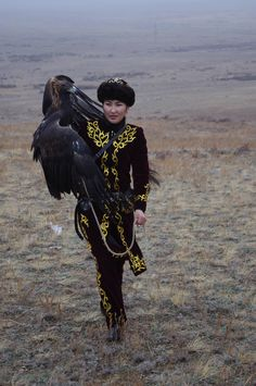 Makpal Abdrazakova, the only female eagle hunter in Kazakhstan.