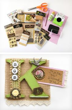Try making this lovely vintage DIY personalized fridge magnet with an assortment of papercrafting embellishments and paper!