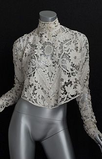 Hand-assembled Battenburg lace blouse, c.1905. They should have at least put a toile skirt of some kind on the model!