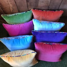 Jewel Coloured Velvet Cushions edged with Striped Piping from our range of over 70 Striped Fabrics Striped Cushions, Colourful Cushions, Velvet Cushions, Striped Fabrics, Velvet Bedspread, Jewel Colors, Seat Pads, Cotton Velvet