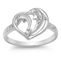 White CZ Beautiful Dolphin Heart Ring .925 Sterling Silver Band Sizes 4-9 NEW #SynergyTrading #DolphinHeart