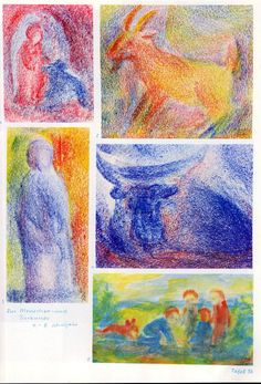 Taf. 36: Tierkunde 02 mit Menschenkunde in Bwfarb. (4.-8. S.j.) Schafähnliches Tier in Bl. bei Hauseingang in Rot-Bl. scheint einer Frau in rot. Kapuzenmantel die Hand zu schlecken Ziegenbock in Gelb-Rot mit bunt. Hintergr. Fr. in bl. Kapuzenmantel mit gelb-rot-grün-bl. Hintergr. Stier liegend in Bl. auf Boden in Rot-Bl. und mit bl. Hintergr. Kindergr. in Bl. und Braunrot, alle mit braun. Haaren, mit braun. Hund in einer Lands., ev. beim Feuer mach....
