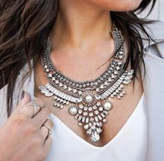 "- silver tone statement necklace - clear ""crystals"" and faux pearls - feature by many bloggers - popular design."