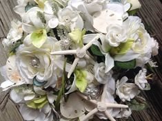 Seashell Bling Bridal Bouquet with Garden by VictoriaGreenFlowers, $89.95 (With Coral & Light Aqua accents)