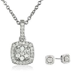 Sterling Silver Diamond Halo Pendant Necklace and Earrings available at joyfulcrown.com