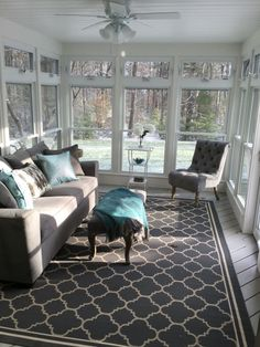 Converted a brown screened in porch to this 3 season sanctuary!