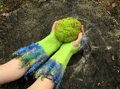 Fingerless Gloves. Felted Arm Warmers. Handmade Merino Wool Fingerless Mittens by HandiCraftKate on Etsy $40