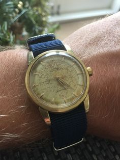Omega Seamaster Automatic 1950's Bumper Navy Blue Nato Strap - Gold Plated. VBN