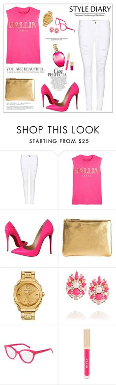 """My style diary..."" by teryblueberry ❤ liked on Polyvore featuring Frame Denim, Brian Lichtenberg, Christian Louboutin, Comme des Garçons, Versace, Whiteley, Shourouk, Kate Spade, Stila and Yves Saint Laurent"