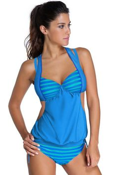 Fashionable Blue Bicolor Stripes Halter Stylish Tankini Her Swimsuit