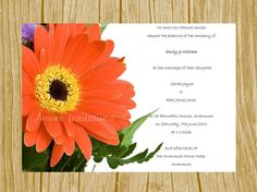 Digital Printable Red Gerbera Floral Flower Wedding / Birthday / Party Invitation Template Downloadable - Instant Download – Microsoft Word