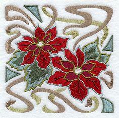 Art Nouveau Poinsettia Square design (D8389) from www.Emblibrary.com