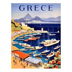 Original vintage travel poster for Greece: Grece - Athenes / Baie de Castella 1 Tourism Poster, Poster S, Poster Prints, Greece Tourism, Greece Travel, Spain Travel, Posters Paris, Illustrations Vintage, Athens Greece