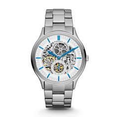 Love the colors. Mechanical watches FOSSIL® Watch Styles: Mens Ansel Automatic Watch Stainless Steel Source by jvanderklok Fossil Watches For Men, Rolex Watches, Stainless Steel Watch, Stainless Steel Bracelet, Skeleton Watches, Mechanical Watch, Automatic Watch, Casio Watch, Bracelet Watch