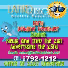 Latino Lubbock Magazine Early Deadline Reminder