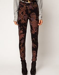 Just Female Pag High Rise Ankle Skinny Jeans In Paisley